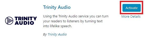 Activate TrinityAudio plugin
