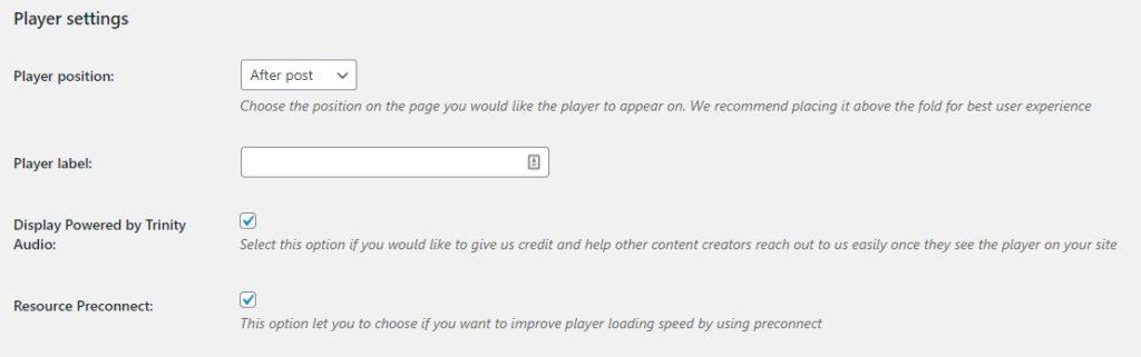 Player settings Trinity Audio
